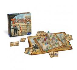 La boite du jeu de société Torres avec le matériel