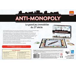Le dos de la boite du jeu de société Anti Monopoly