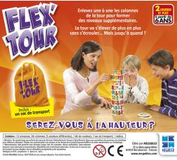 Le dos de la petite boîte du jeu de société Flex Tour