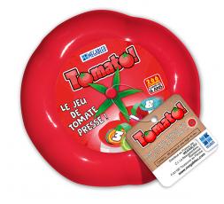 La boîte du jeu de société Tomato et son étiquette