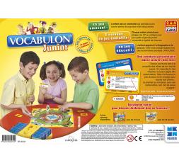 Le dos de la boîte du jeu de société Vocabulon Junior