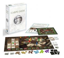 La boite du jeu de société Carpe Diem avec le matériel
