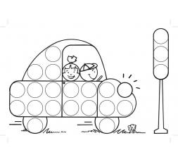 Un modèle : la voiture en noir et blanc du jeu de Colorino