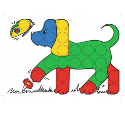 Un modèle : le chien et le papillon en couleur du jeu Colorino
