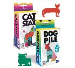 Les boites du jeu de société Cat Stax et Dog Pile