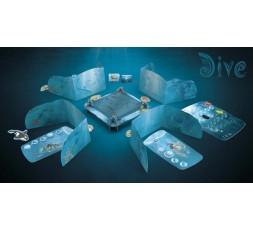 Le matériel de la boite du jeu de société Dive sur fond sombre